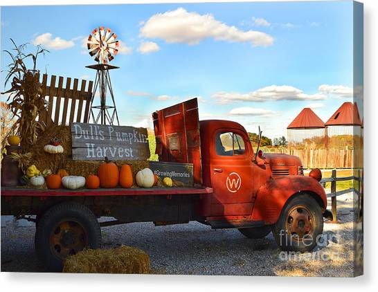 Farm With Red Truck In Fall  Canvas Print