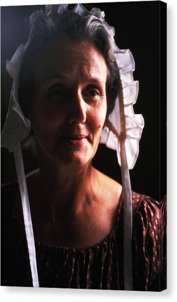 Farm Woman In Bonnet Canvas Print by Carl Purcell