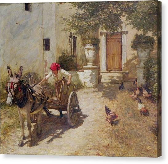 Carts Canvas Print - Farm Yard Scene by Henry Herbert La Thangue