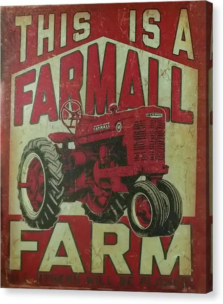 Canvas Print featuring the photograph Farmall Farm Sign by Chris Flees