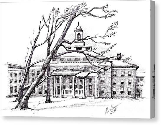 Miami University - Oxford Miami Of Ohio Canvas Print - Farmer School In Winter by Oana Godeanu