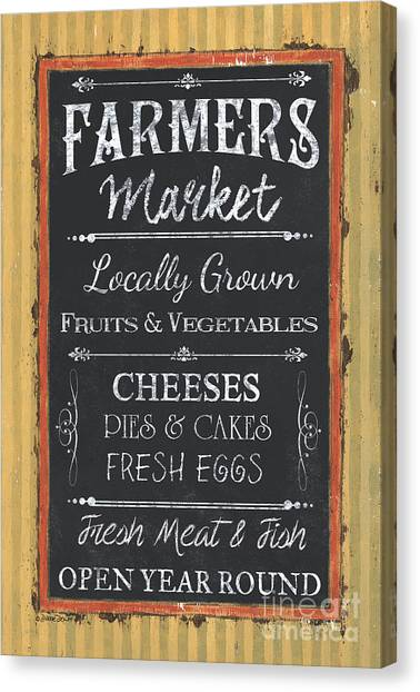 Meat Canvas Print - Farmer's Market Signs by Debbie DeWitt