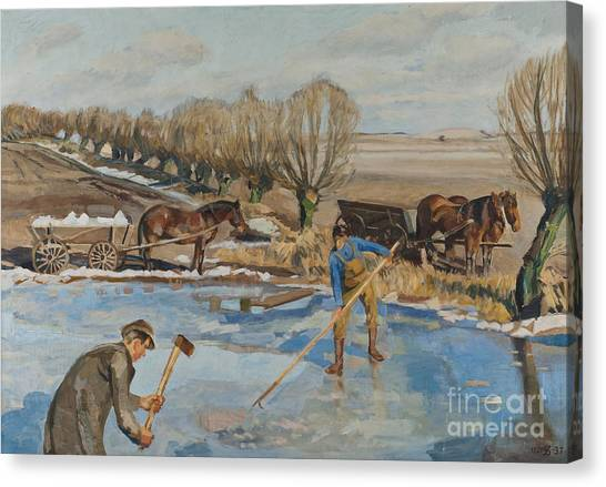 Axes Canvas Print - Farmhands Fetching Ice by Fritz Syberg