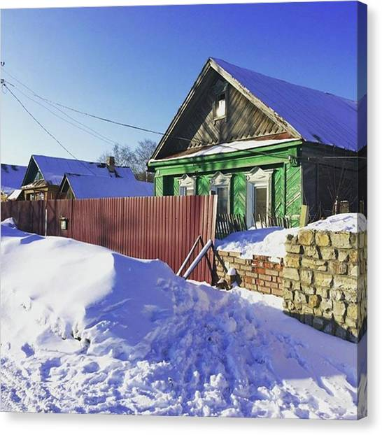 Farmhouse Canvas Print - #farmhouse #house #suburbia #snow by Christos Mouzeviris
