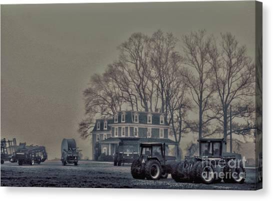 Farmhouse In Morning Fog Canvas Print