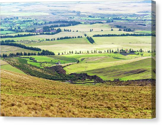 Cotopaxi Canvas Print - Farmland Landscape In Ecuador by Jess Kraft