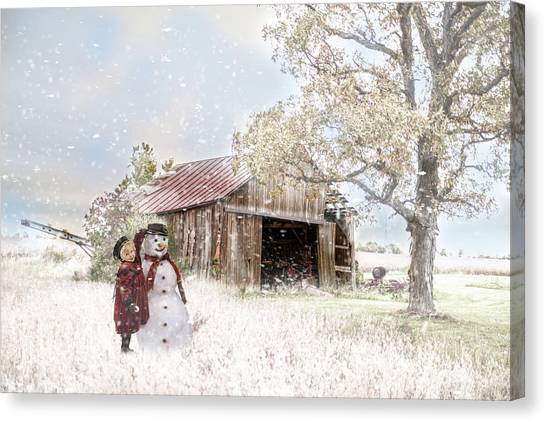 Farmstyle Snowman Canvas Print