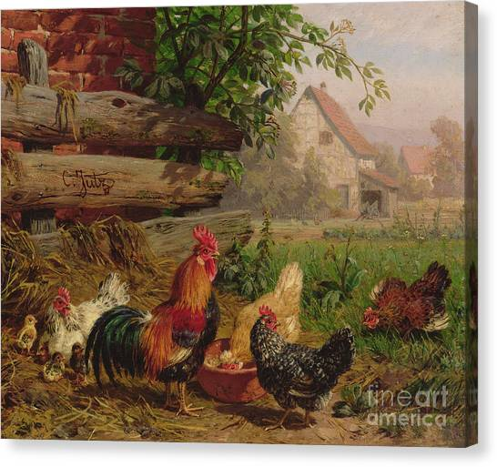 Chicken Farms Canvas Print - Farmyard Chickens by Carl Jutz