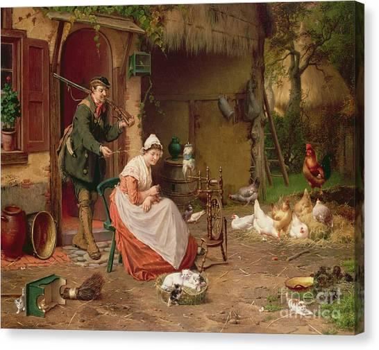 19th Century Canvas Print - Farmyard Scene by Jan David Cole