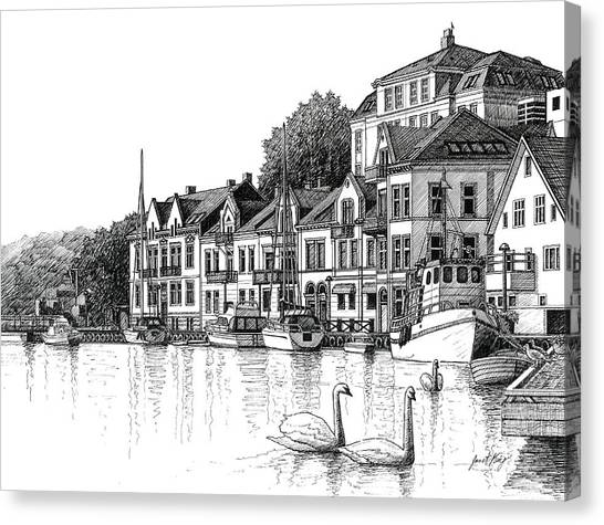 Farsund Canvas Print - Farsund Harbor In Ink by Janet King