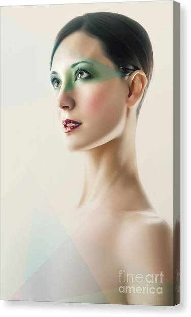 Canvas Print featuring the photograph Fashion Beauty Portrait by Dimitar Hristov