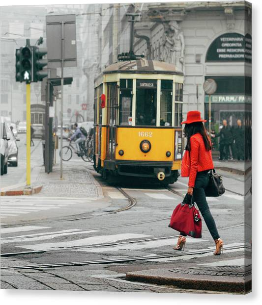 Fashionista In Milan, Italy Canvas Print