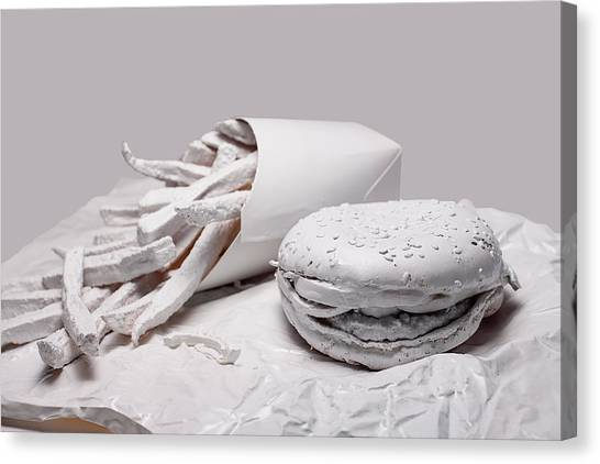 Sandwich Canvas Print - Fast Food - Burger And Fries by Tom Mc Nemar