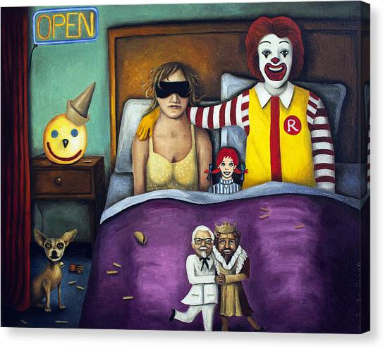 Burger Canvas Print - Fast Food Nightmare by Leah Saulnier The Painting Maniac