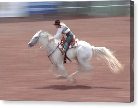 Barrel Racing Canvas Print - Fast Pony by Jerry McElroy