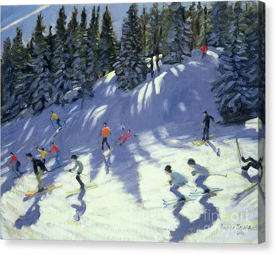 Ski Canvas Print - Fast Run by Andrew Macara