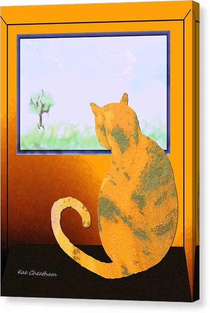 Fat Cat At Her Window Canvas Print