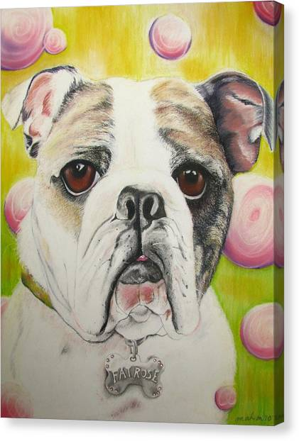 English Bull Dogs Canvas Print - Fat Rose by Michelle Hayden-Marsan