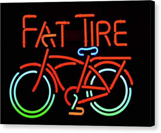 Craft Beer Canvas Print - Fat Tire Neon Beer Sign by David Lee Thompson