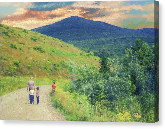Father And Children Walking Together Canvas Print