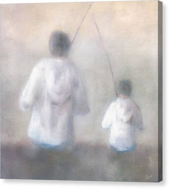 Father And Son Fishing Canvas Print by Alan Daysh