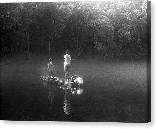 John Boats Canvas Print - Father And Son Fishing by Buddy Mays