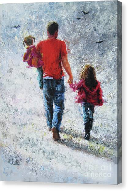 Big Sister Canvas Print - Father And Two Daughters Walking by Vickie Wade
