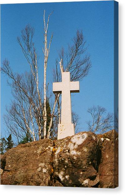 Father Baraga's Cross Canvas Print by C E McConnell