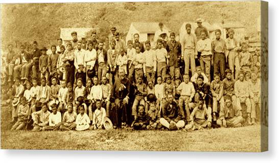 Father Damien And Boy Lepers Of Kalaupapa Canvas Print by James Temple