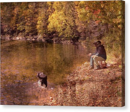 Father,son And Dog Canvas Print
