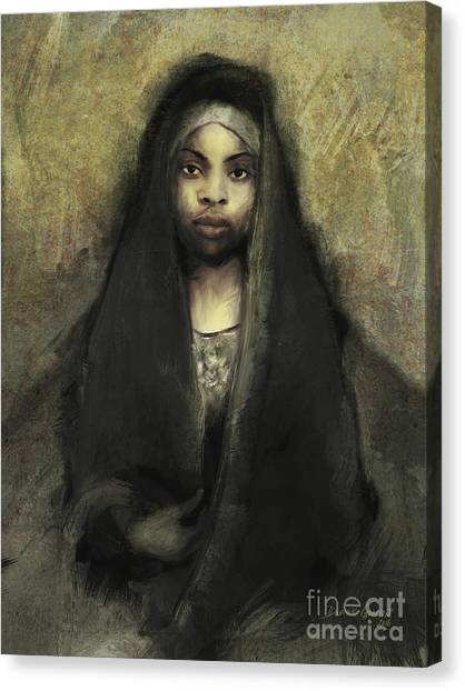 Canvas Print featuring the digital art Fatima by Dwayne Glapion