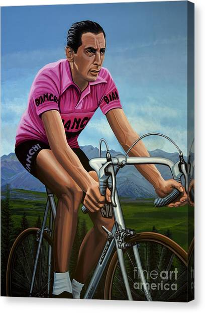Cyclist Canvas Print - Fausto Coppi Painting by Paul Meijering