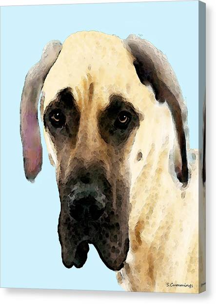 Great Danes Canvas Print - Fawn Great Dane Dog Art Painting by Sharon Cummings