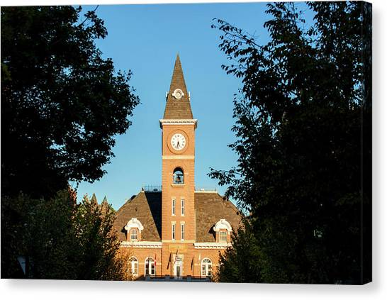 University Of Arkansas Canvas Print - Fayetteville Arkansas Downtown Courthouse At Sunset by Gregory Ballos