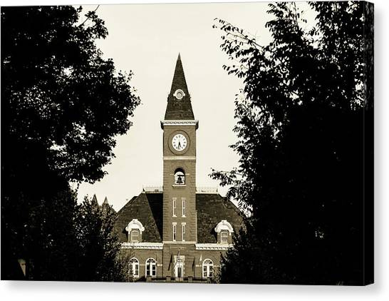 University Of Arkansas University Of Arkansas Canvas Print - Fayetteville Arkansas Downtown Courthouse Sepia by Gregory Ballos