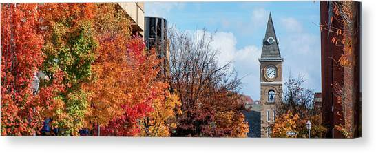 University Of Arkansas Canvas Print - Fayetteville Arkansas Fall Color Cityscape Panorama by Gregory Ballos