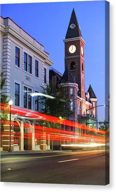 University Of Arkansas University Of Arkansas Canvas Print - Fayetteville Arkansas Skyline At Night by Gregory Ballos