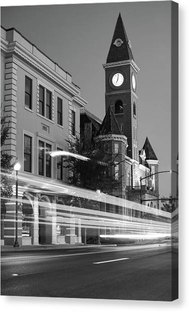 University Of Arkansas Canvas Print - Fayetteville Arkansas Skyline At Night In Black And White by Gregory Ballos