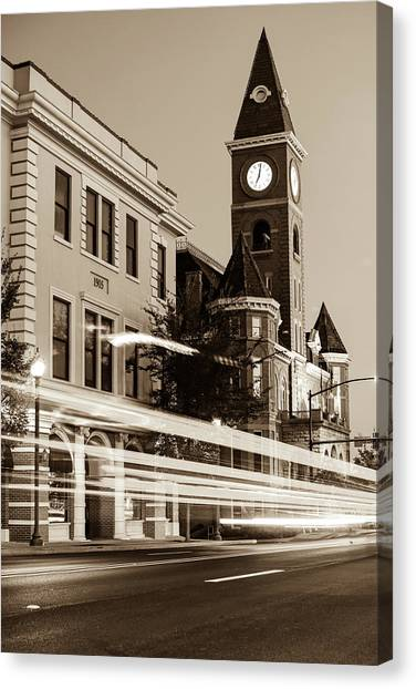 University Of Arkansas University Of Arkansas Canvas Print - Fayetteville Arkansas Skyline At Night In Sepia by Gregory Ballos