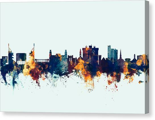 University Of Arkansas Canvas Print - Fayetteville Arkansas Skyline by Michael Tompsett