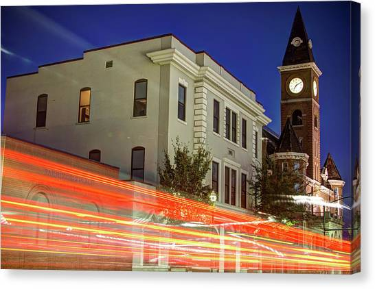 University Of Arkansas University Of Arkansas Canvas Print - Fayetteville Skyline Long Exposure At Dusk by Gregory Ballos