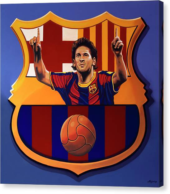 Lionel Messi Canvas Print - Fc Barcelona Painting by Paul Meijering