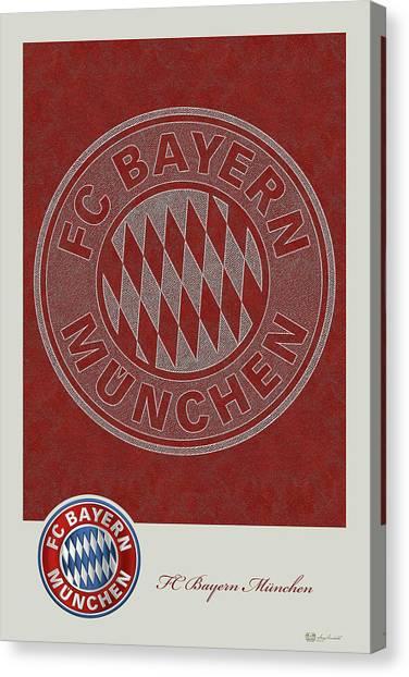 Fc Bayern Munich Canvas Print - Fc Bayern Munich Logo And 3d Badge by Serge Averbukh