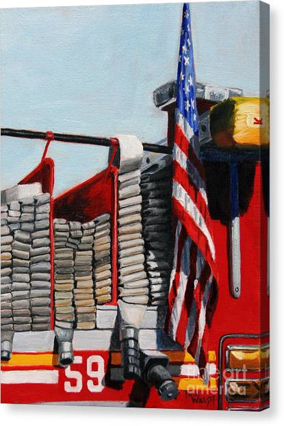 Nyfd Canvas Print - Fdny Engine 59 American Flag by Paul Walsh