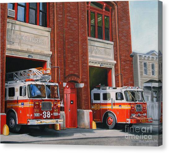 Firefighters Canvas Print - Fdny Engine 88 And Ladder 38 by Paul Walsh