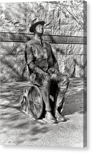 Franklin D. Roosevelt Canvas Print - Fdr Memorial Sculpture In Wheelchair by Olivier Le Queinec