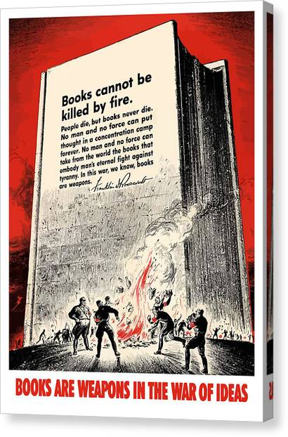 German Canvas Print - Fdr Quote On Book Burning  by War Is Hell Store