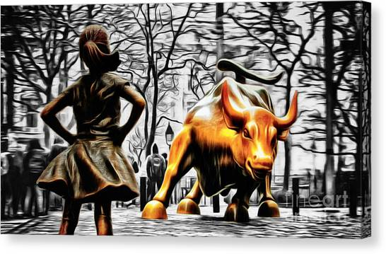 Independent Canvas Print - Fearless Girl And Wall Street Bull Statues 15 by Nishanth Gopinathan