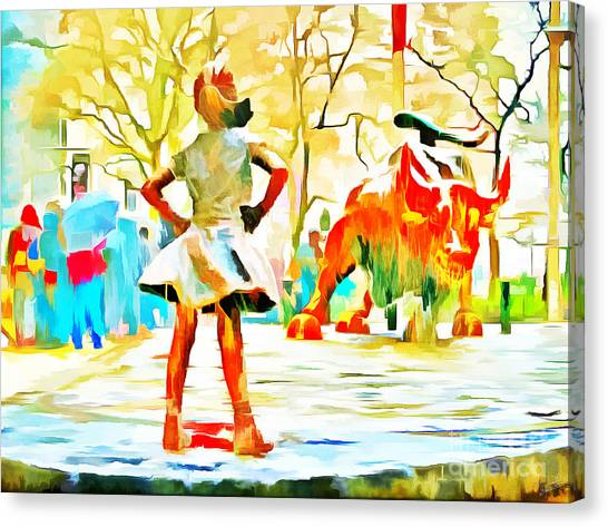 Independent Canvas Print - Fearless Girl And Wall Street Bull Statues 6 Watercolor by Nishanth Gopinathan
