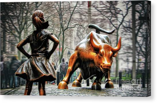 Market Canvas Print - Fearless Girl And Wall Street Bull Statues by Nishanth Gopinathan